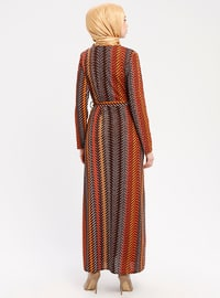 Tan - Multi - Crew neck - Unlined - Dresses - ZENANE