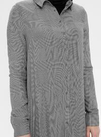 Gray - Plaid - Point Collar - Cotton - Tunic