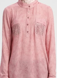 Red - Button Collar - Tunic