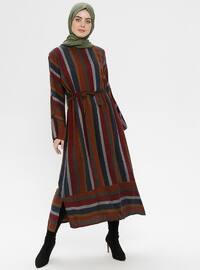 Maroon - Stripe - Crew neck - Unlined - Dresses