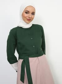 Green - Powder - Crew neck - Fully Lined - Dress