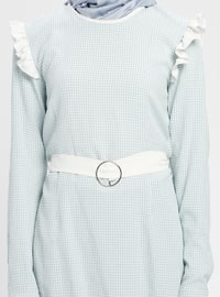Blue - Checkered - Crew neck - Tunic