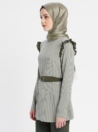 Khaki - Checkered - Crew neck - Tunic