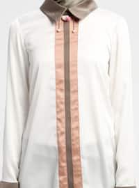 White - Ecru - Point Collar - Blouses