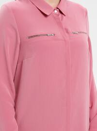 Pink - Point Collar - Plus Size Tunic