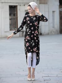 Black - Salmon - Floral - Crew neck - Tunic