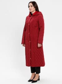 Maroon - Fully Lined - Plus Size Overcoat