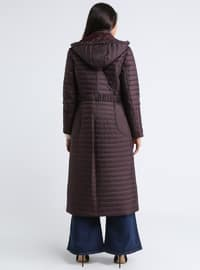Plum - Fully Lined - Polo neck - Coat