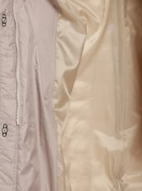 Beige - Fully Lined - Plus Size Overcoat
