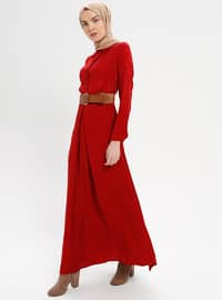 Red - Point Collar - Half Lined - Dresses