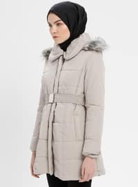 Gray - Beige - Fully Lined - Point Collar - Coat