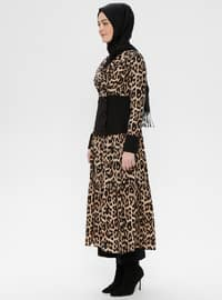 Brown - Leopard - Fully Lined - Shawl Collar - Cotton - Topcoat