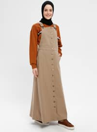 Beige - Unlined - Cotton - Dresses