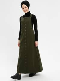 Green - Unlined - Cotton - Dresses