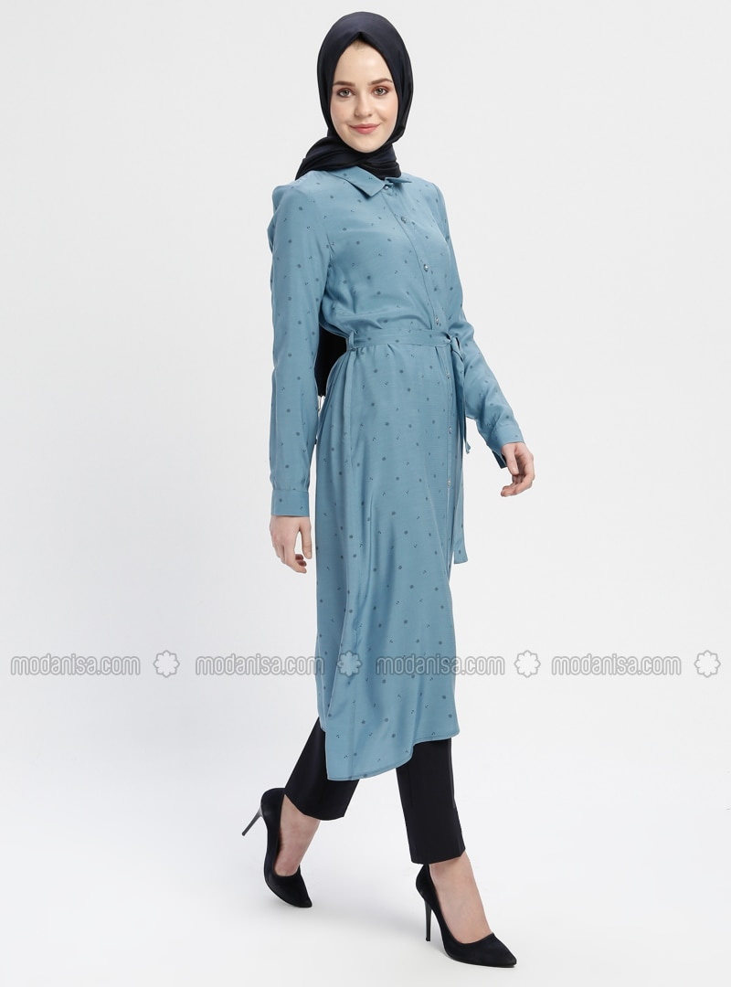 Blue - Navy Blue - Indigo - Multi - Point Collar - Tunic