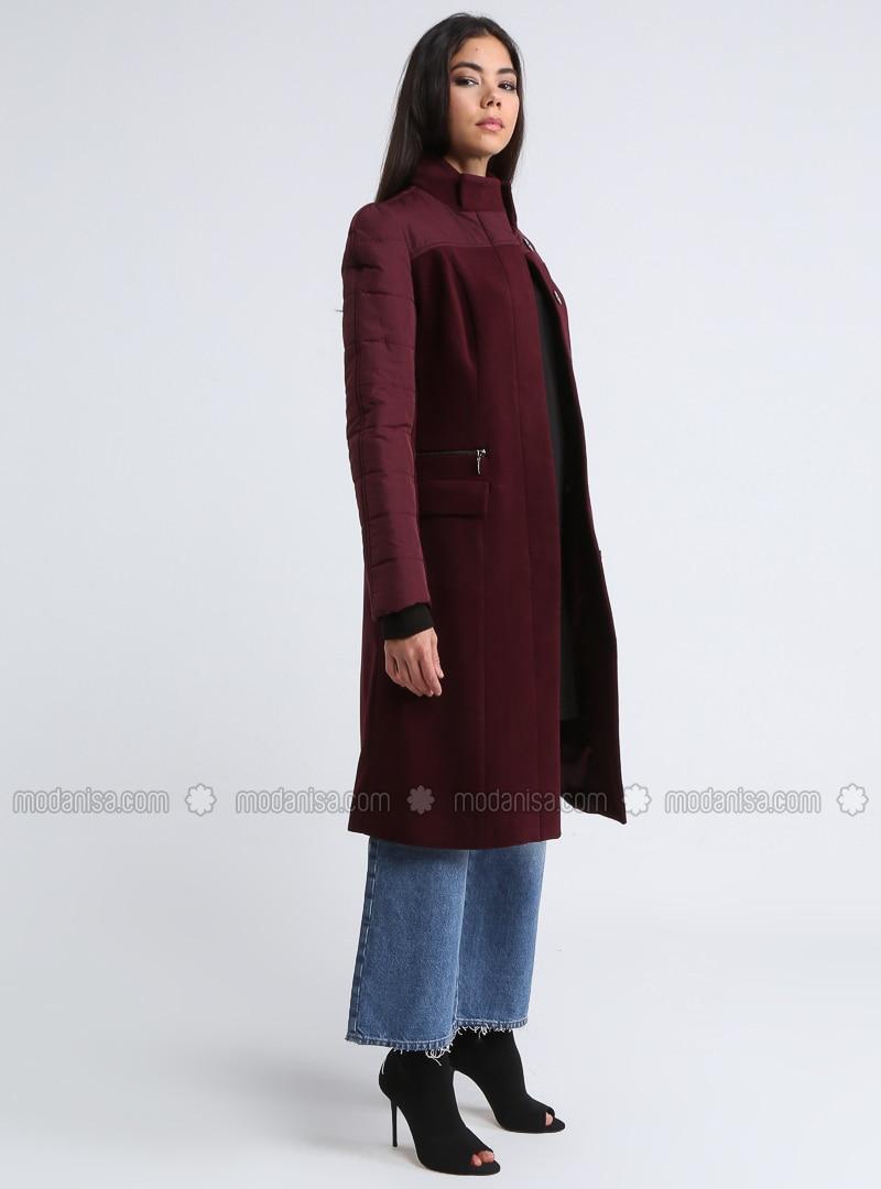 Maroon - Cherry - Fully Lined - Polo neck - Coat
