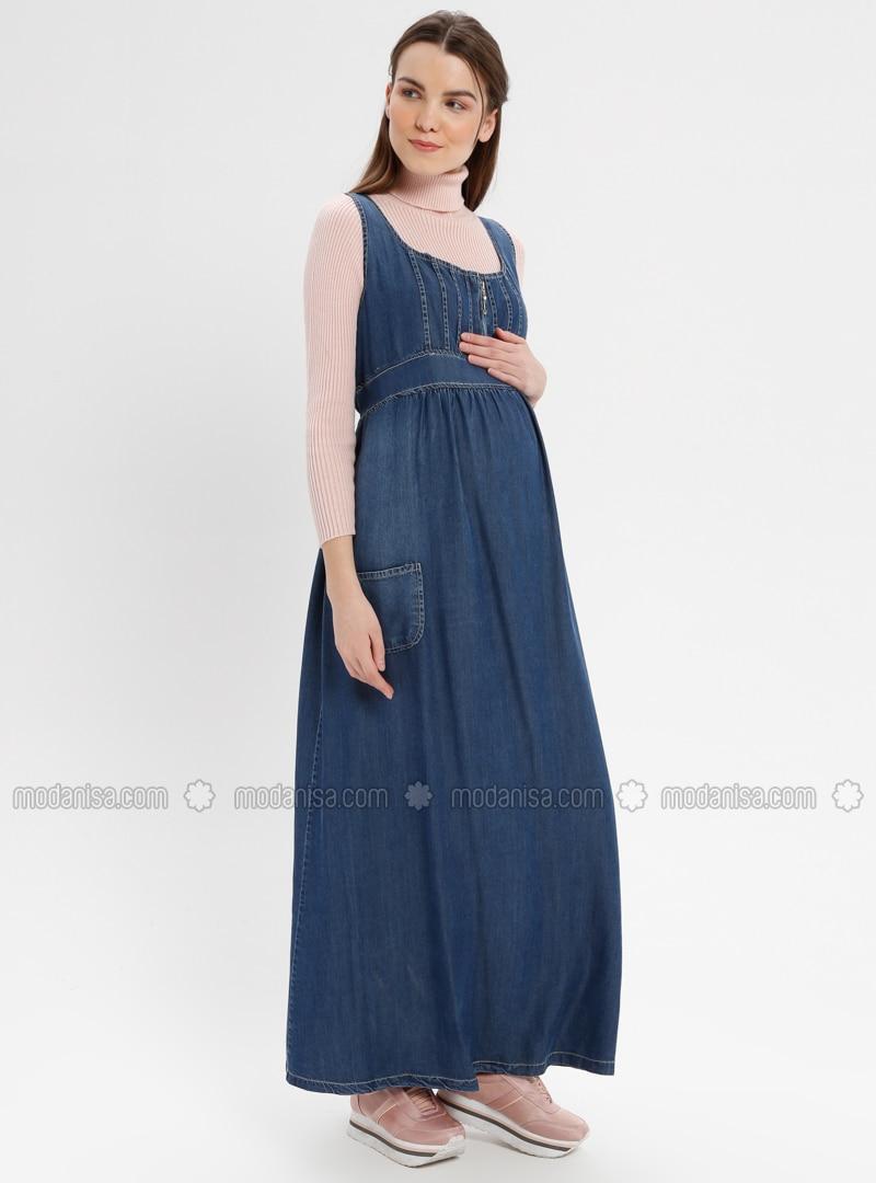 85a1961770557 Blue - Navy Blue - Unlined - Denim - Maternity Dress