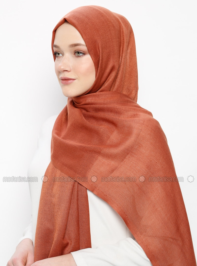 Terra Cotta - Plain - Pashmina - Viscose - Shawl