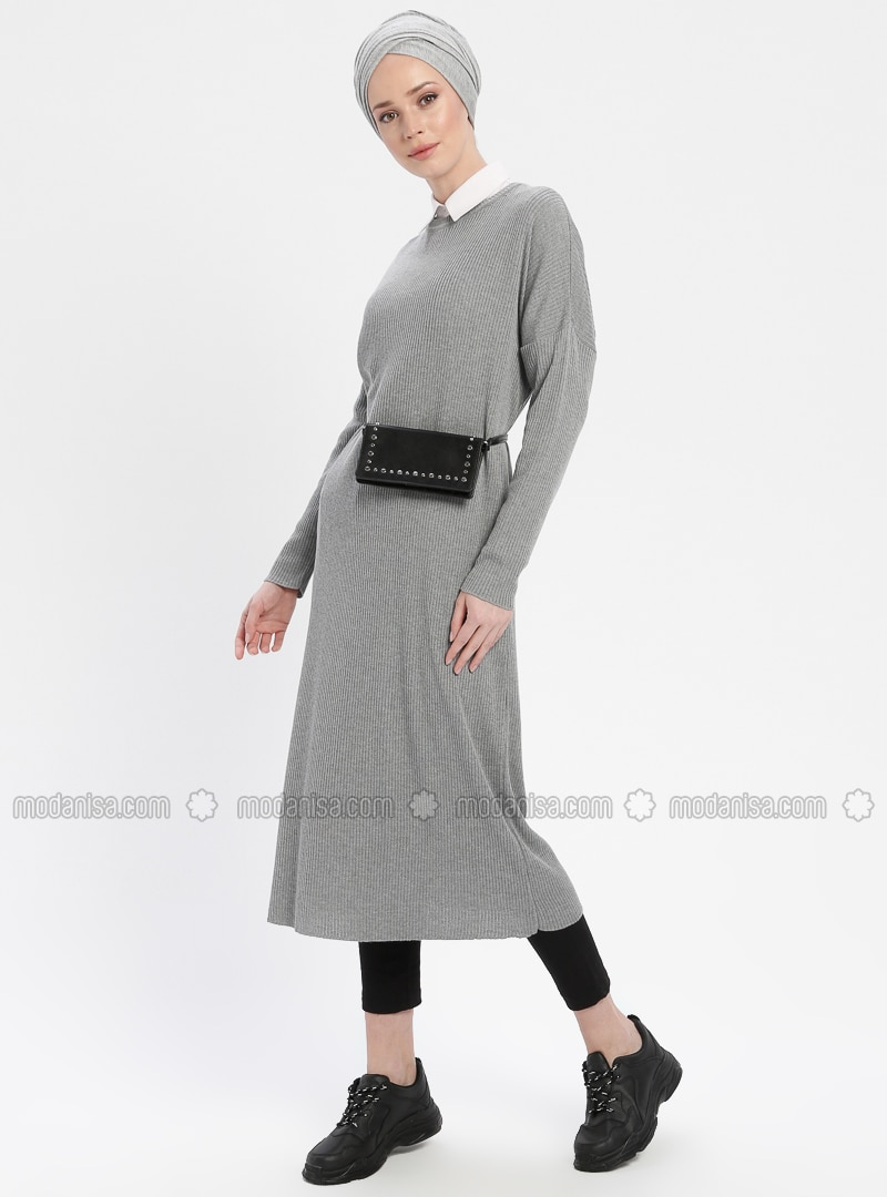 Gray - Crew neck - Cotton - Acrylic - Tunic