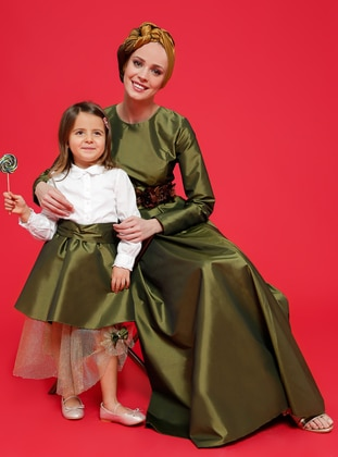Unlined - Green - Age 8-12 Evening Dress