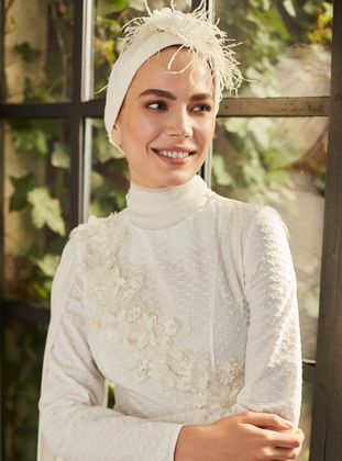 White - Ecru - Fully Lined - Crew neck - Muslim Evening Dress