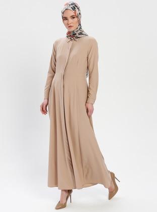 e5613d0289 Beige - Point Collar - Unlined - Dress