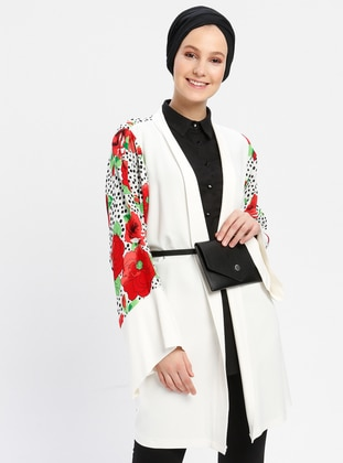 Red - White - Floral - Viscose - Cardigan