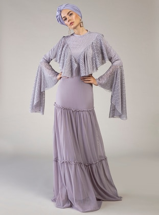 Lilac - Fully Lined - Polo neck - Muslim Evening Dress