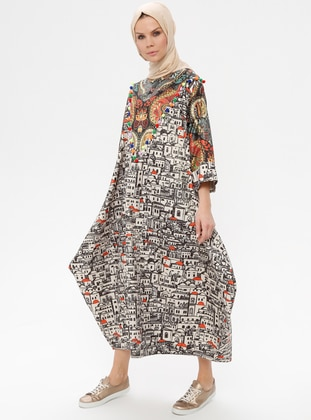 Multi - Ethnic - Crew neck - Unlined - Dress