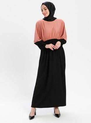 Black - Pink - Unlined - Crew neck - Abaya