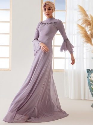 0635db73eaac Lilac - Fully Lined - Polo neck - Muslim Evening Dress