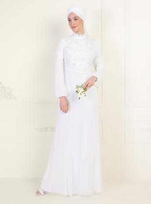 White - Polka Dot - Fully Lined - Crew neck - Muslim Evening Dress