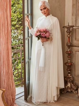 White - Ecru - Fully Lined - Polo neck - Muslim Evening Dress