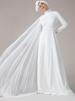 White - Fully Lined - Muslim Evening Dress