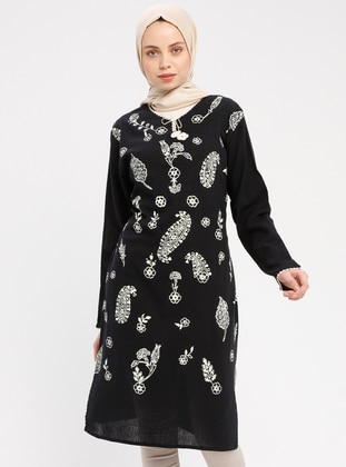 Black - Multi - Crew neck - Cotton - Tunic