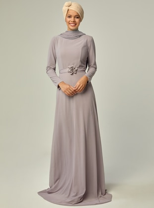 13f8e78d4018 Lilac - Fully Lined - Crew neck - Muslim Evening Dress