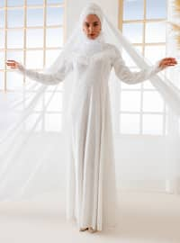 White - Ecru - Fully Lined - Muslim Evening Dress