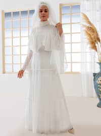 White - Fully Lined - Polo neck - Muslim Evening Dress