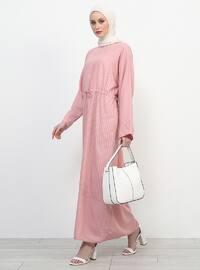 Pink - Stripe - Crew neck - Unlined - Dress
