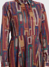 Fuchsia - Indigo - Multi - Point Collar - Unlined - Dresses