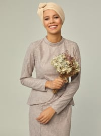 Lilac - Fully Lined - Crew neck - Muslim Evening Dress