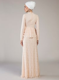 Salmon - Fully Lined - Polo neck - Muslim Evening Dress