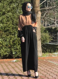Black - Brown - Unlined - Crew neck - Abaya