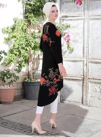 Black - Brown - Floral - Crew neck - Tunic