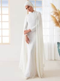 White - Ecru - Fully Lined - Polo neck - Muslim Evening Dress