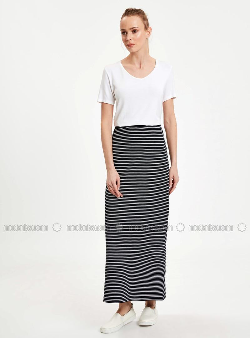 4ce8b67ecc Navy Blue - Stripe - Skirt. Fotoğrafı büyütmek için tıklayın