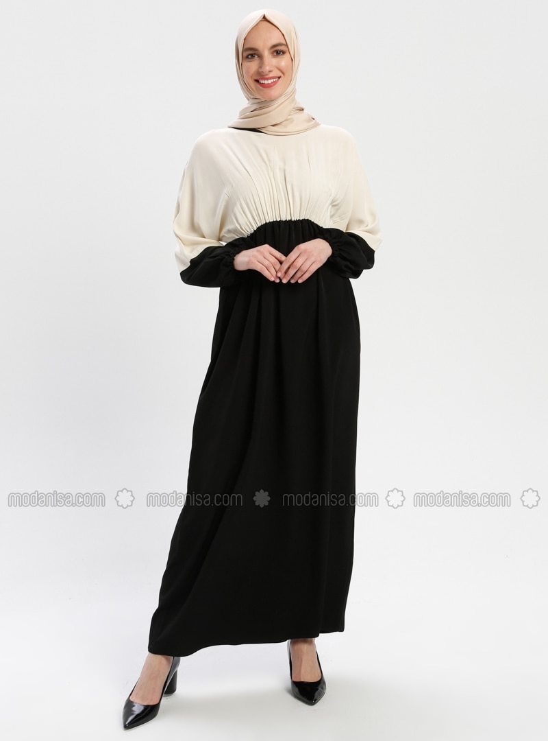 Black - Cream - Unlined - Crew neck - Abaya
