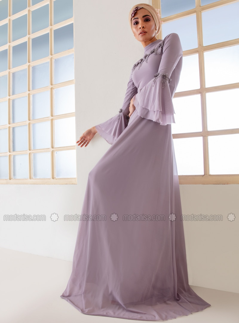 f4426be481d Lilac - Fully Lined - Polo neck - Muslim Evening Dress