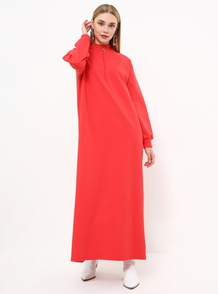 Red - Polo neck - Unlined - Dress