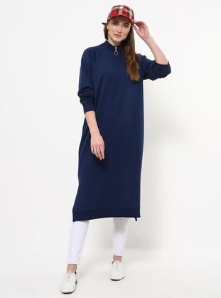 Navy Blue - Polo neck - Cotton - Tunic